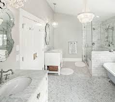 Bathroom Classic Bathroom Design Tiling Is Honed Carrara Marble ...