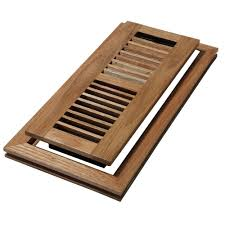 decor grates 4 in x 10 in wood natural oak louvered design flush mount