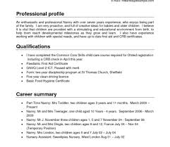 Nanny Resume Sample Template Position Professional Templates