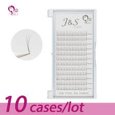 <b>10 Trays</b>/<b>lot</b> J & S <b>High quality</b> Volume Fans 3D Eyelash Extensions ...