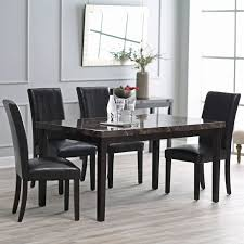 contemporary  x  inch dining table with faux marble top