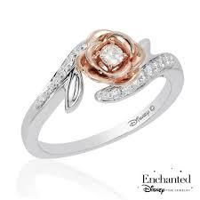 enchanted disney fine jewelry belle s rose diamond fashion ring 1 4ctw