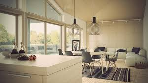 Modern White Concrete Wall Hid Lighting Living Room That Can Be