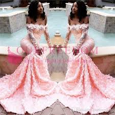 Prom Dress Color Chart 2019 Soft Pink Off The Shoulder Prom Dresses Long Sleeve Appliques Lace 3d Flora Sweep Train Mermaid South Africa Style Formal Evening Dress Short