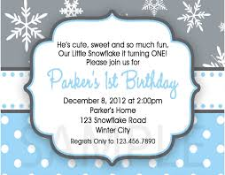 Snowflake Birthday Invitations Winter Snowflake Boys Birthday Invitations
