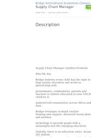 Supply Chain Manager Job At Bridge International Academies In Andhra