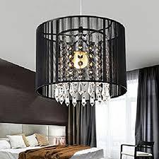 gracelove modern black brushed crystal chandeliers with 1 light led pendant lamp ceiling fixture for dining room bedroom living room