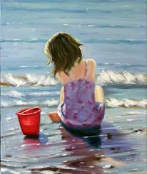 young girl child beach sand waves playing oil painting