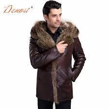 winter rac fur coat natural men real fur lined leather