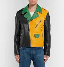loeweoversized colour block leather biker jacket