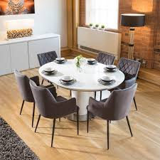 sentinel extending round oval dining set white gloss table 6 grey carver chairs
