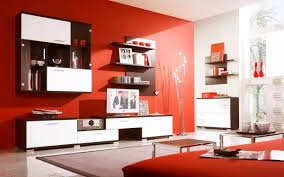Interior:Red And White Interior Of Modern Living Room With Modern Wall  Units Red And