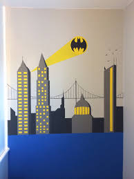 Lego Wallpaper For Bedroom Walls Batman Wall Painting Superhero Themed Bedroom For My 5yr Olds