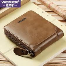 <b>WEIXIER</b> Men Short Wallet Korean <b>Style Fashion</b> Genuine Leather ...