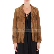 fringe brown suede leather jacket zoom kate