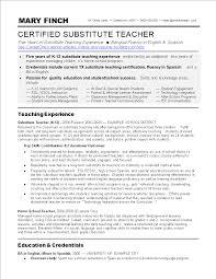 Free Substitute Teacher Resume Skills Templates At