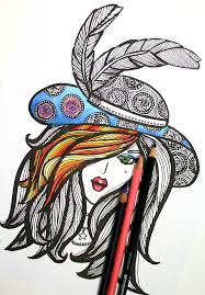Free Coloring Page For Adults Lady In Hat