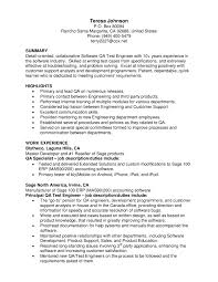 Qa Resume Summary Fieldstation Co Quality Assurance Analyst