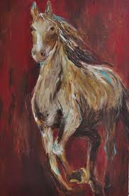 abstract horse red painting contemporary art by heartifactsgallery