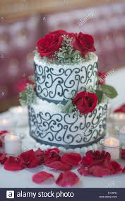 2 Layer Wedding Cake With A Black And White Design The Cake Is
