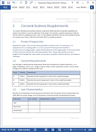 requirements document template business requirements specification template ms word excel visio