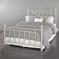 white metal queen bed.  Queen White Metal Queen Bed Steel Twin Frame King Size Iron Intended S