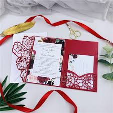 Vistaprint Wedding Seating Chart Elegant Red Tri Fold Laser Cut Invites For Wedding Quince Sweet Sixteen Laser Cut Pocket With Belly Band And Rsvp Card Simple Wedding Invitations