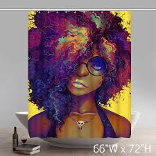 custom funny natural hair liberty art black beauty waterproof bathroom shower curtains