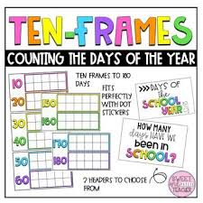Ten Frames Counting Chart Days Of The School Year Chart