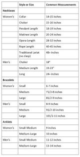 Bracelet Size Chart Men Necklace Bracelet Anklet Sizing Chart Resize 200