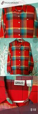 Chicos Red Plaid Linen Shirt Size Medium Chicos Design 100
