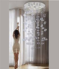 Long Drop Stairwell Pendant Lights Extra Long Glass Ball Pendant Height 1250mm