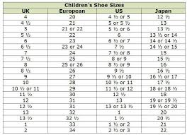 Euro Size Chart To Us Shoes 32 Faithful European Size Chart Children