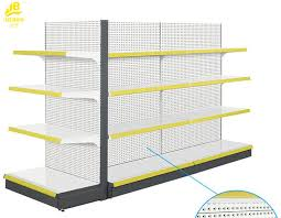 Powder Coating Racks Suppliers Powder Coated Supermarket Shelf Rack Double Sided 100KG Levels Load 45