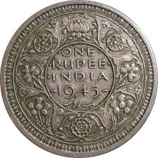 Indian One Rupee Coin 1945 Vintage India Coins World Coins
