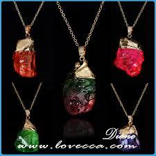 2017 whole natural stone jewelry beautiful gold crystal druzy semi precious stones pendants necklaces