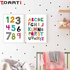 Us 1 13 43 Off Abc Alphabet Chart Kids Education Poster Yoga Wall Art Print Canvas Painting For Kids Room Educational Decoration Home Decor In