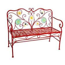 43 in red bees and flowers metal outdoor garden bench