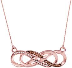 10kt rose gold womens round cognac brown color enhanced diamond infinity pendant necklace 1