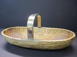 design serving dish bread basket fruit bowl wood 935er silver handle