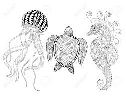 hand drawn sea horse jellyfish and turtle for coloring pages in doodle zentangle