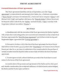Trust Agreement Sample - Cemayorga.co