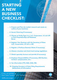 New Business Startup Checklist Starting A Business Checklist California Secretary Of State