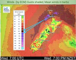 Metservice is new zealand's national weather authority for best results when printing, resize your browser window to single column view before selecting print. Windy Wednesday Brings Colder Change 7 Day Rainfall Outlook Today S Wind Map 7 Maps Weatherwatch New Zealand S Weather News Authority