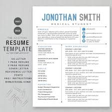 Resume Template CV Template for Word | Printable + social media icons | The  JONATHAN Blue | Instant Download | ms word and apple pages