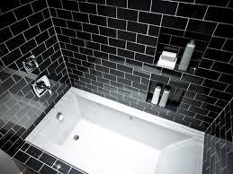 bathroom black white tile bathroom floor blue paint wall decoration ideas cream ceramic mirror brown