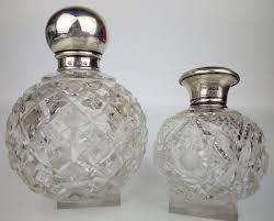 hallmarked sterling birmingham silver set of cut crystal perfume flacons 1921 1939 u k