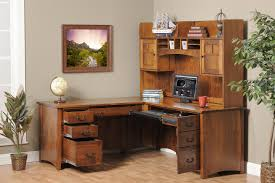 image of corner office desk with hutch