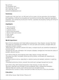 Sample Resume Titles Professional Auto Title Clerk Templates Showcase Your Talent