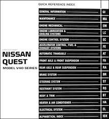1998 nissan quest van repair shop manual original 2004 Nissan Quest Wiring Diagram covers all 1998 nissan quest models including xe, gle and gxe this book measures 8 5\